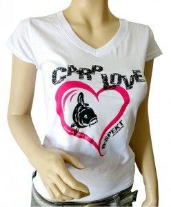 R-Spekt Dámské tričko Carp Love bílé - XXL