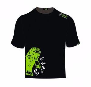 R-Spekt Tričko Double Carp černé, zelený kapr - XL