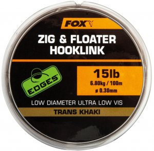 Fox Edges Zig & Floater Hooklink Trans Khaki 100 m-Průměr 0,30 mm / Nosnost 6,8 kg