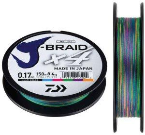 Daiwa Splétaná Šňůra J-Braid Multi Color 300 m-Průměr 0,10 mm / Nosnost 6 kg