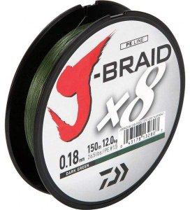 Daiwa Splétaná Šňůra J-Braid Dark Green 300 m-Průměr 0,18 mm / Nosnost 12 kg