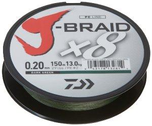 Daiwa Splétaná Šňůra J-Braid Dark Green 150 m-Průměr 0,18 mm / Nosnost 12 kg
