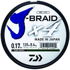Daiwa Splétaná Šňůra J-Braid 4 Tmavě Zelená 135 m-Průměr 0.07 mm / Nosnost 2,6 kg