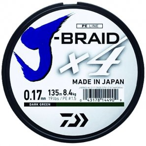 Daiwa Splétaná Šňůra J-Braid 4 Žlutá 135 m-Průměr 0,07 mm / Nosnost 2,6 kg