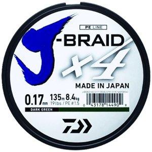 Daiwa Splétaná Šňůra J-Braid 4 Žlutá 135 m-Průměr 0,19 mm / Nosnost 10,2 kg
