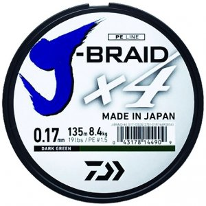 Daiwa Splétaná Šňůra J-Braid 4 Žlutá 135 m-Průměr 0,21 mm / Nosnost 12,4 kg