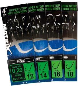 """Matrix Návazec 4"""" Super Stop Method Rigs Barbed-Velikost Háčku 18"""