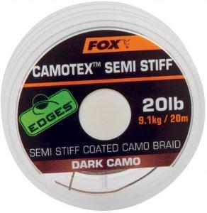 Fox Návazcová Šňůrka Camotex Dark Semi Stiff 20 m-Průměr 15 lb / Nosnost 6,8 kg
