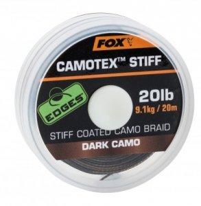 Fox Návazcová Šňůrka Camotex Dark Stiff 20 m-Průměr 15 lb / Nosnost 6,8 kg