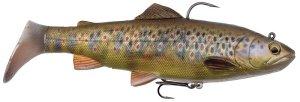 Savage Gear Gumová Nástraha 4D Rattle Trout Chrastící Pstruh Dark Brown Trout-17 cm 80 g
