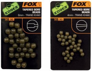 Fox Gumové korálky Tapered Bore Beads Trans Khaki-6 mm
