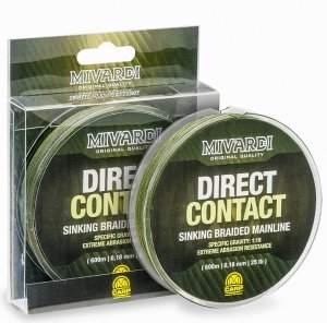 Mivardi Splétaná Šňůra Direct Contact Sinking Braid Green 600 m - Průměr 0,18 mm / Nosnost