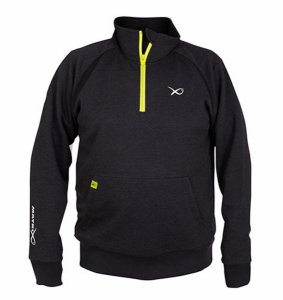 Matrix Mikina Minimal Black Marl 1/4 ZIP Sweater-Velikost XXXL