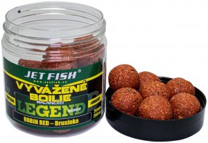 Jet Fish Vyvážené Boilie Legend Range Robin Red Brusinka 24 mm 250 ml