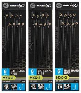 "Matrix Návazec MXC-3 6"" Bait Band Rigs - Velikost Háčku 16 Nosnost 1,9 kg"