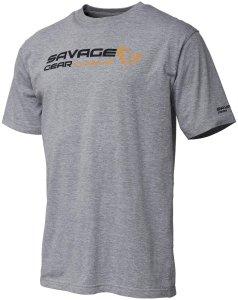 Savage Gear Triko Signature Logo T Shirt Grey Melange - S