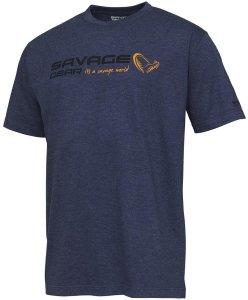 Savage Gear Triko Signature Logo T Shirt Blue Melange - L