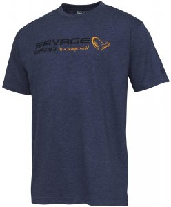 Savage Gear Triko Signature Logo T Shirt Blue Melange - XL