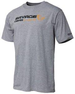 Savage Gear Triko Signature Logo T-shirt Grey Melange - XL