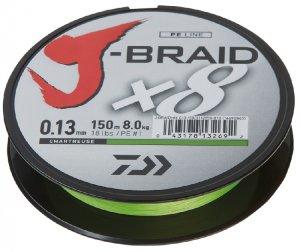 Daiwa Splétaná Šňůra J-Braid Chartreuse 150 m-Průměr 0,18 mm / Nosnost 12 kg