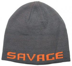 Savage Gear Zimní čepice Logo Beanie Rock Grey/Orange